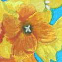 Close up detail of Wallflowers: original painting