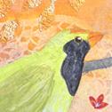 Close up detail of Green Magpies: original painting