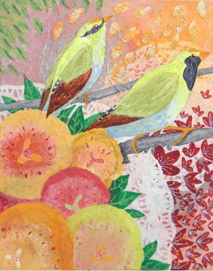 Green Magpies: original painting