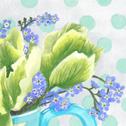 Close up detail of Spring Green: original painting
