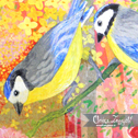 Close up detail of Blue Tits: original painting