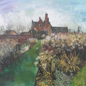 Close up detail of Autumn House: original painting