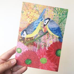 Bluetits greetings card