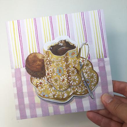 Coffee Macaroon greetings card