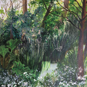 Close up detail of Cow Parsley: original painting