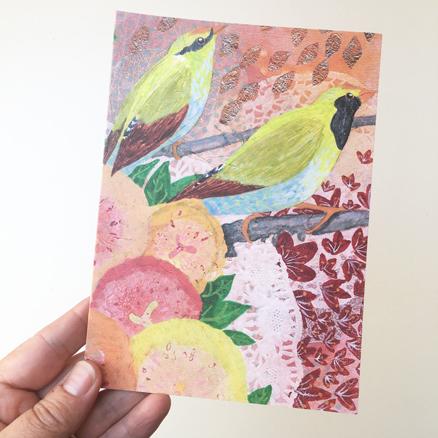 Green Magpies greeting card