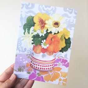 Orange Posy greetings card