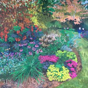 Close up detail of Autumn Border: original painting