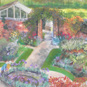 Close up detail of The Walled Garden: original painting